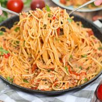 If you are looking for a perfect weeknight dinner, this Chicken Spaghetti with Red Sauce and Prosciutto is exactly what you need. Delicious, easy, and quick to make!   yummyaddiction.com