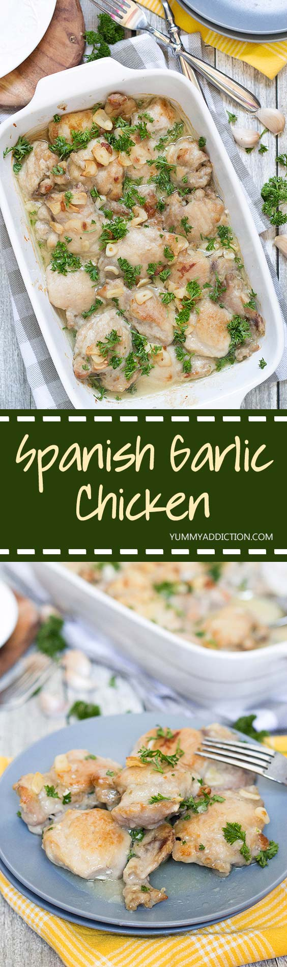 Pollo al Ajillo will surely become one of your favorite dinner recipes. This Spanish Garlic Chicken is super delicious! Oh and the wine and garlic sauce is just perfect. | yummyaddiction.com