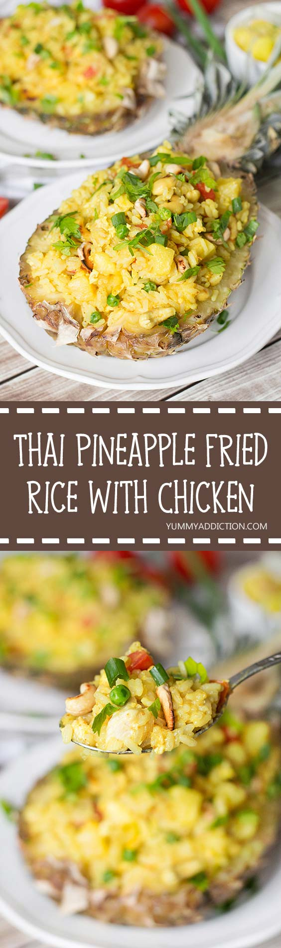 This Thai Pineapple Fried Rice with chicken makes a perfect weeknight dinner. It's delicious and healthy. Served in pineapple shells, it's also great for parties or other occasions! | yummyaddiction.com