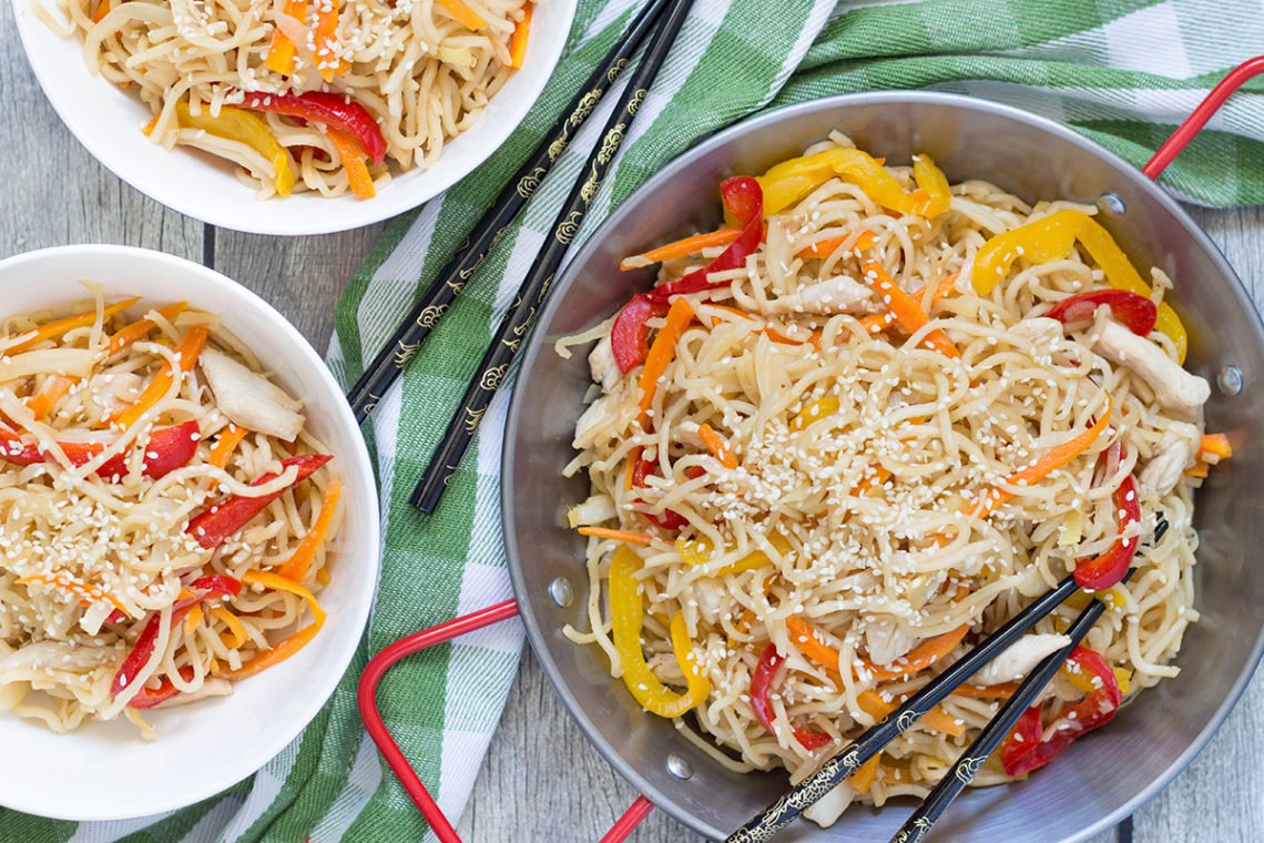 Chicken Yakisoba is a Japanese stir-fry featuring egg noodles, chicken, and tons of veggies. Healthy and delicious. A perfect weeknight dinner! | yummyaddiction.com