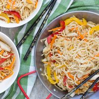 Chicken Yakisoba is a Japanese stir-fry featuring egg noodles, chicken, and tons of veggies. Healthy and delicious. A perfect weeknight dinner!   yummyaddiction.com