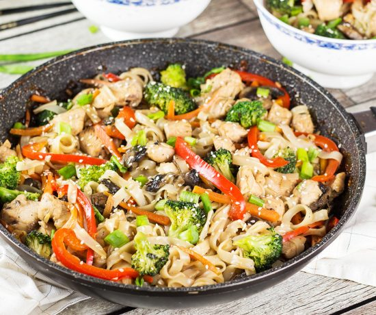 This Chicken Teriyaki Stir Fry makes a perfect quick & easy meal. The flavorful chicken is complemented by the delicate rice noodles and lots of veggies! | yummyaddiction.com