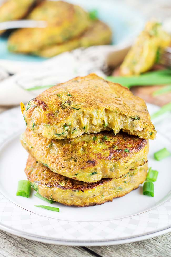 Sweet Potato Patties featuring tuna, quinoa, zucchini, chia, spinach ...