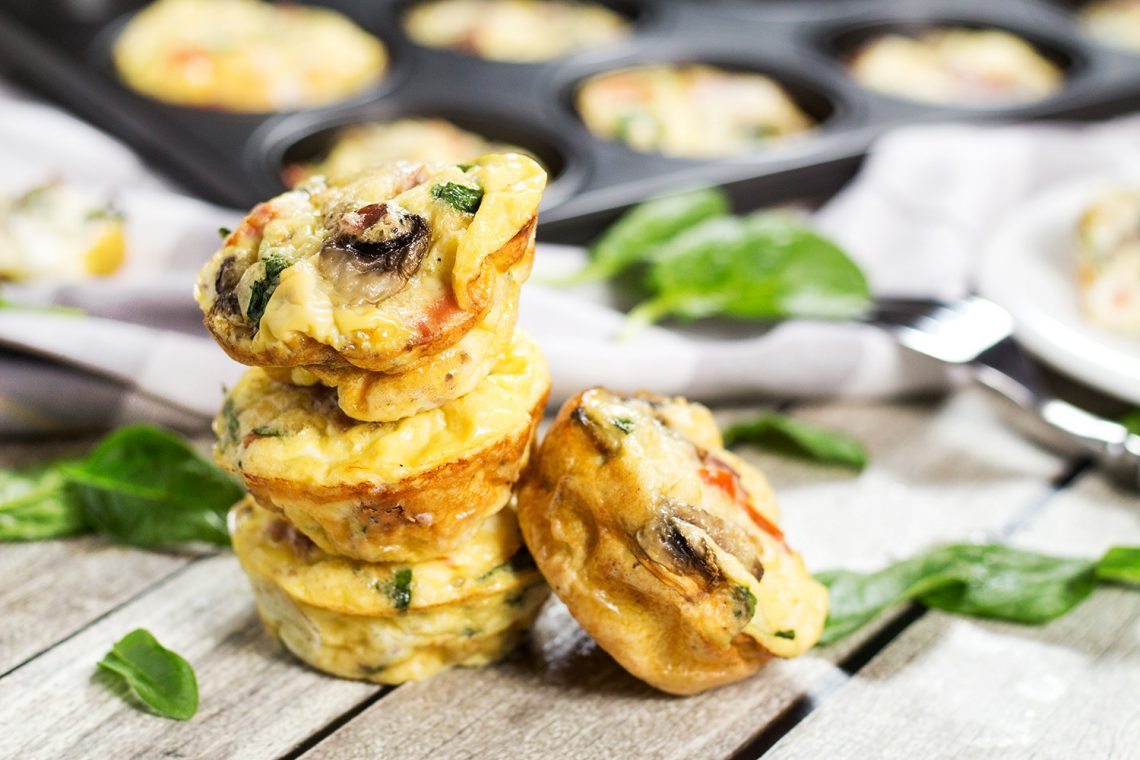 Muffin Tin Omelets with Prosciutto, Feta, and Spinach (+ Video)