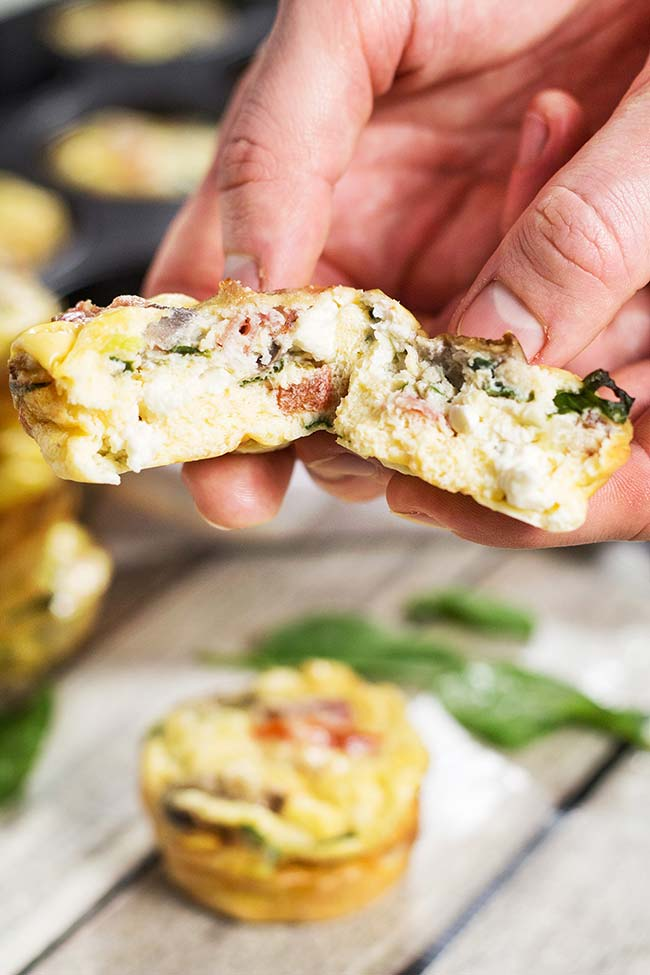Muffin Tin Omelets - w/ Prosciutto, Feta, and Spinach