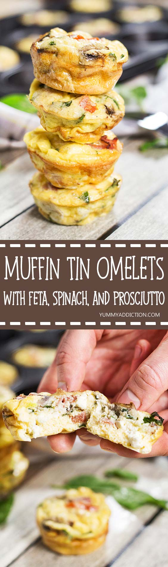 Check out these heavenly delicious Muffin Tin Omelets. They are packed with prosciutto, feta, spinach, and mushrooms. A perfect make-ahead breakfast!   yummyaddiction.com