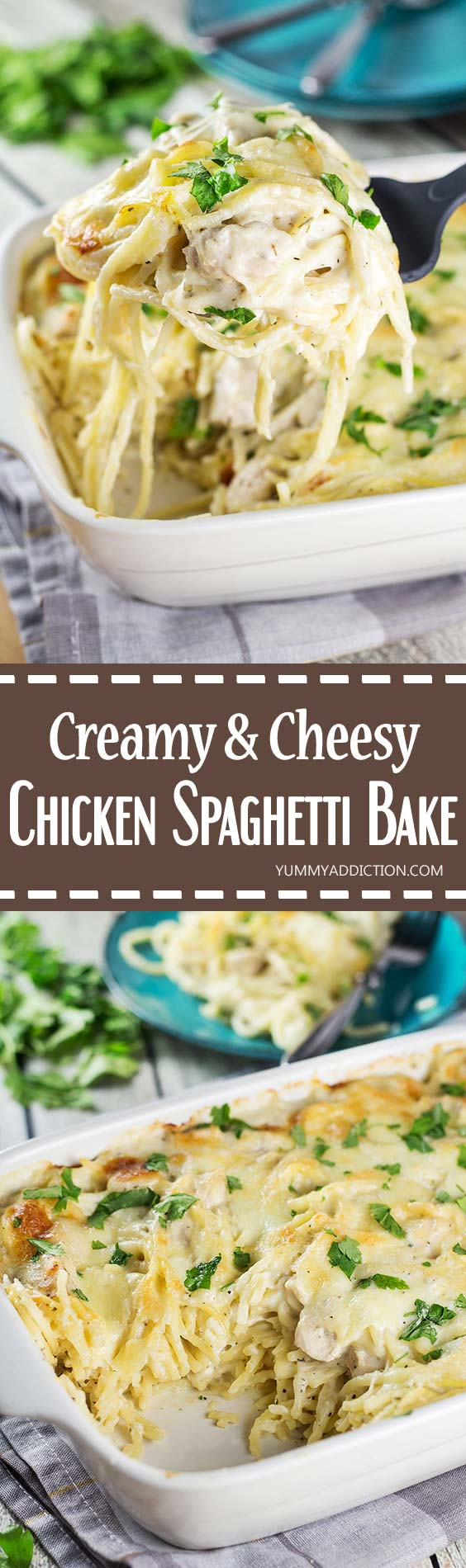Cheesy Chicken Spaghetti Bake for dinner? Your family will thank you! Comforting, filling, and super easy & quick to make. What else do you need? | yummyaddiction.com