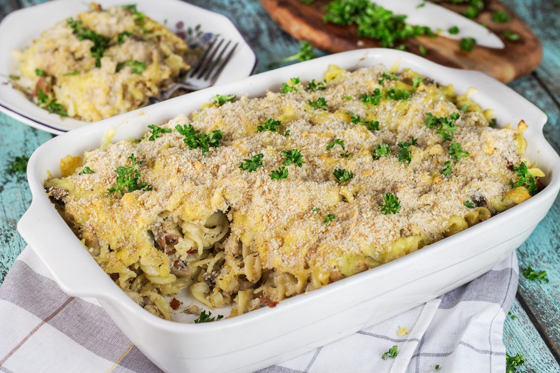 This Ground Turkey Casserole is packed with mushrooms, bacon, pasta, and other goodness. Filling and comforting, it makes a perfect weeknight dinner! | yummyaddiction.com