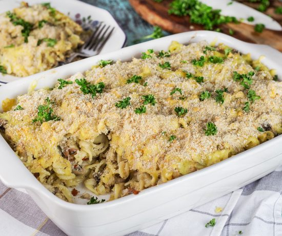 This Ground Turkey Casserole is packed with mushrooms, bacon, pasta, and other goodness. Filling and comforting, it makes a perfect weeknight dinner!   yummyaddiction.com