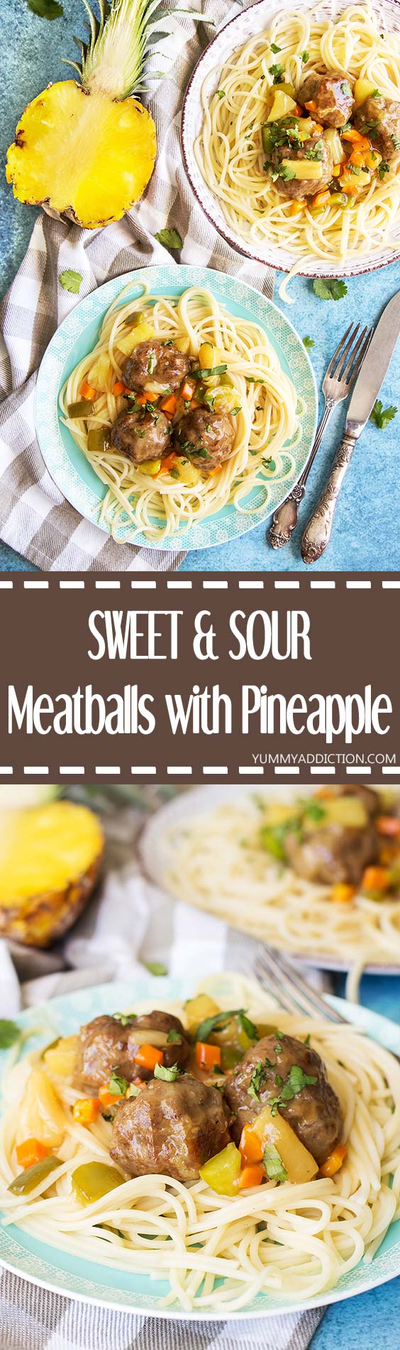 These Sweet and Sour Meatballs with Pineapple flavored and carrot and bell pepper packed sauce, make a great full meal or an appetizer. Comforting, tender, delicious! | yummyaddiction.com