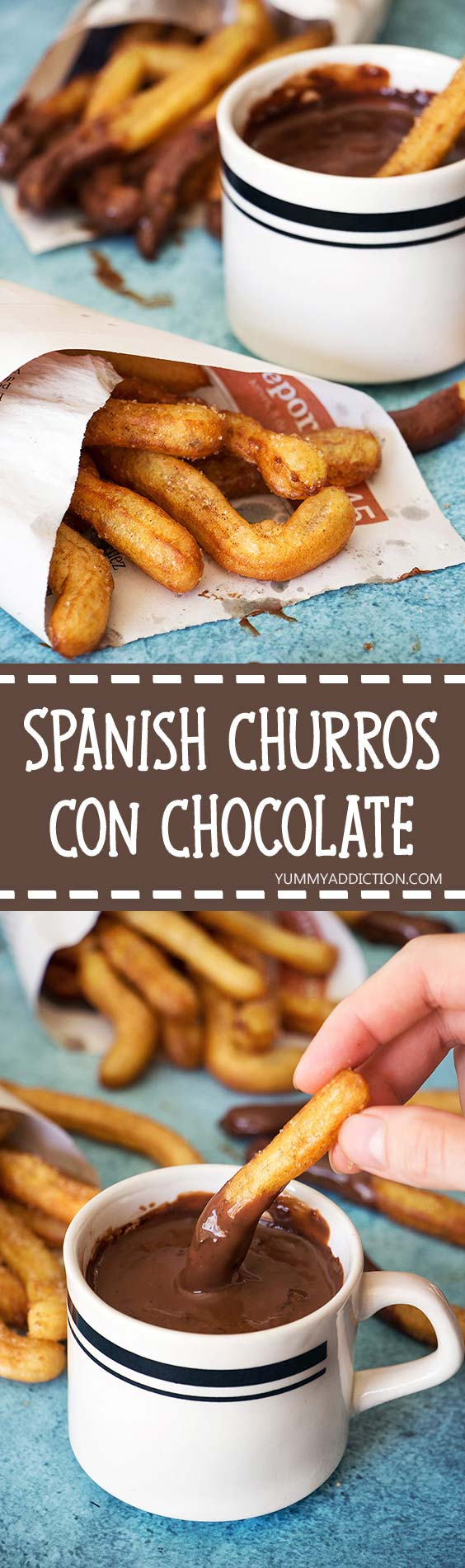 Churros Con Chocolate is one of the most famous Spanish desserts. Crispy on the outside and fluffy inside fried dough sticks served with a chocolate sauce for dipping! | yummyaddiction.com