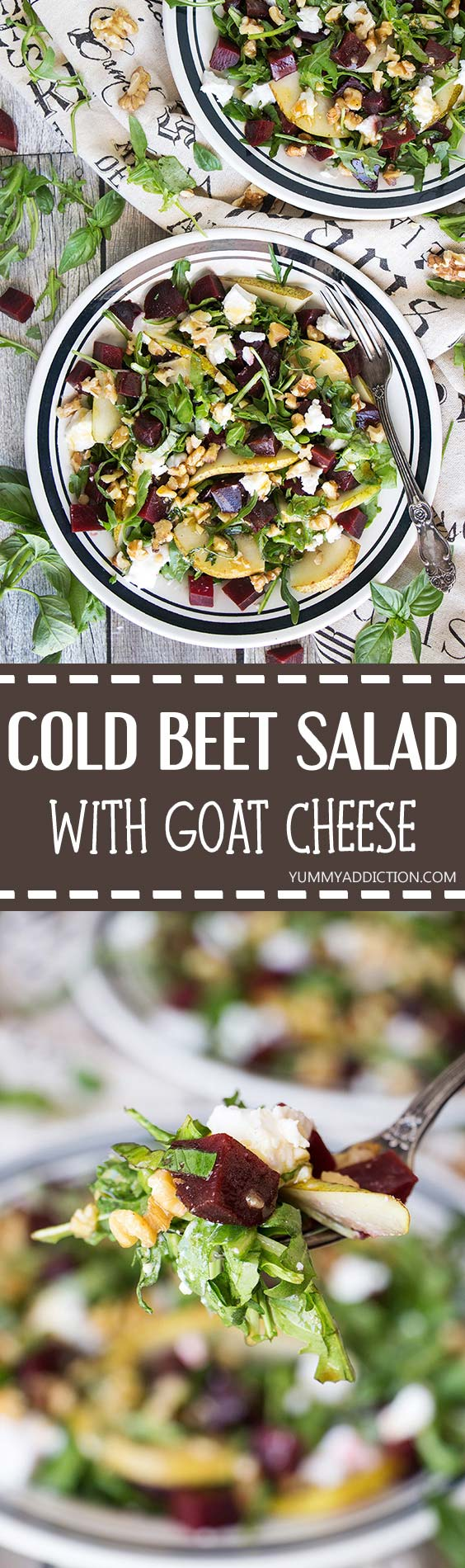 This Cold Beet Salad features goat cheese, pear, arugula, walnuts, basil, and a fantastic honey-balsamic-basil dressing. Great as a side dish or a light standalone meal! | yummyaddiction.com