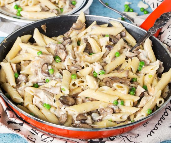 This Creamy Chicken and Mushroom Pasta is tossed in a heavenly blue cheese sauce to create a comforting, hearty, and full of flavor family meal! | yummyaddiction.com