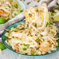 This One Pot Pad Thai is way better than any takeout you will ever have! Packed with veggies, peanuts, and flavored with a fantastic sauce, it makes a perfect weeknight dinner! | yummyaddiction.com