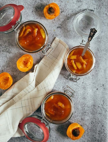 Apricot Jam with Candied Orange Peel and Cinnamon