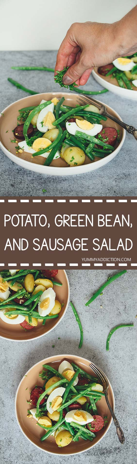 This warm sausage salad with fresh baby potatoes, green beans, and eggs makes a great summer lunch. It's filling but light at the same time! | yummyaddiction.com