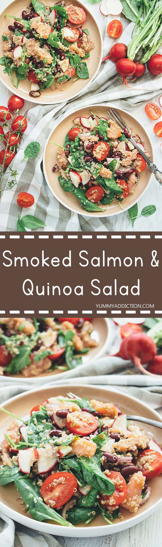 This Smoked Salmon and Quinoa Salad also features radishes, beans, tomatoes, spinach, and a gorgeous sesame oil dressing. Delicious, filling, and nutritious!   yummyaddiction.com