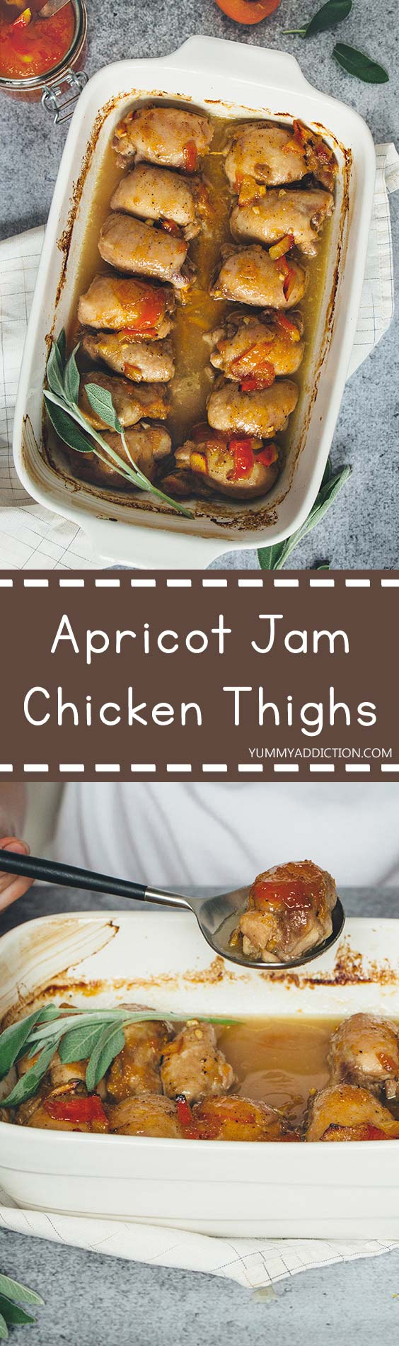 If you can't come up with a dinner idea, these Apricot Jam Chicken Thighs are for you. Really easy and quick to make and oh so delicious! | yummyaddiction.com
