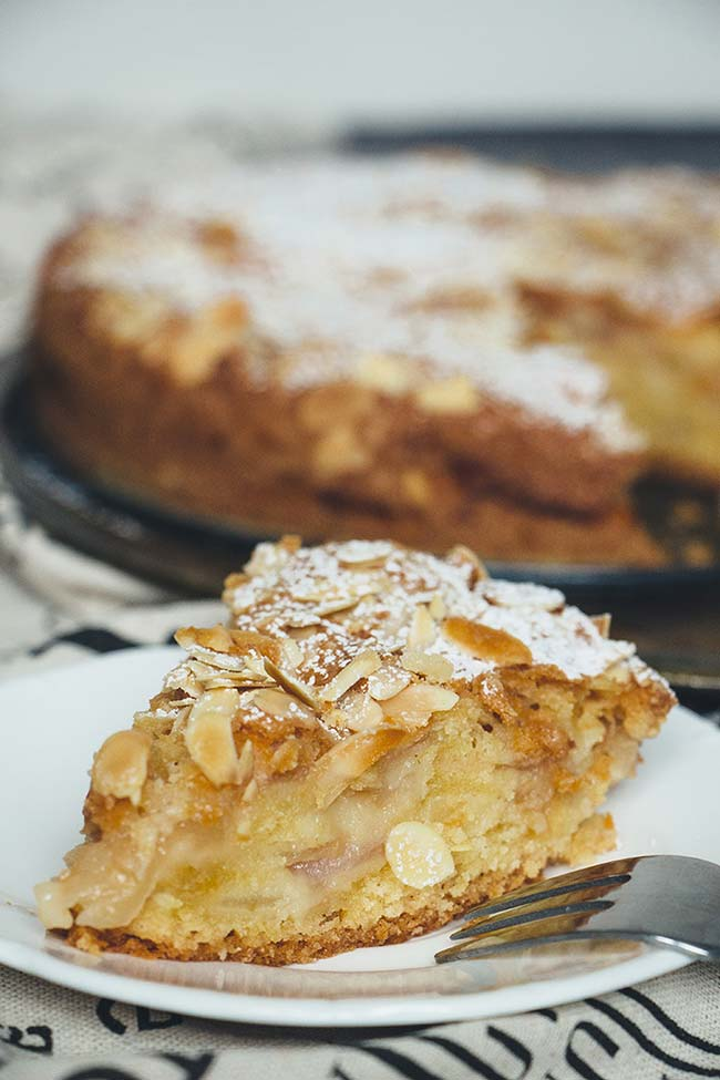 Super moist apple cake slice