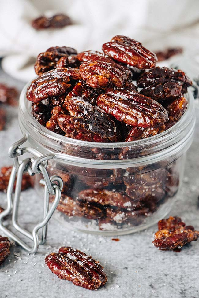 Honey roasted pecans in a jar