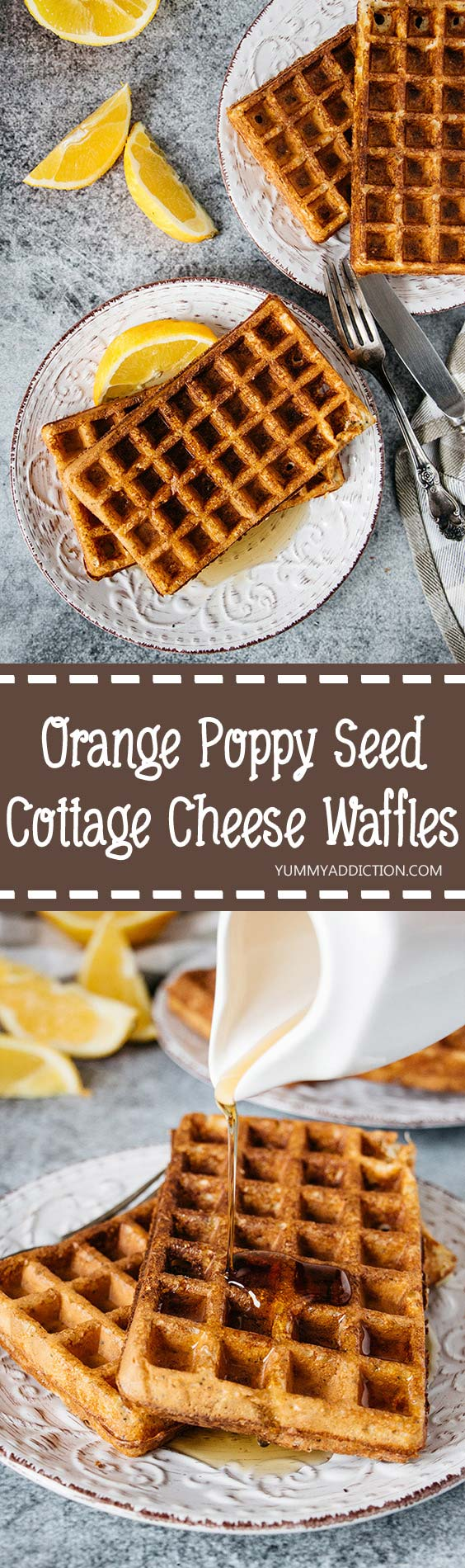 These orange flavored Cottage Cheese Waffles are crazy delicious + healthy. They are wheat-free (oat-based) and are literally packed with proten. A great breakfast or a snack! #glutenfree | yummyaddiction.com