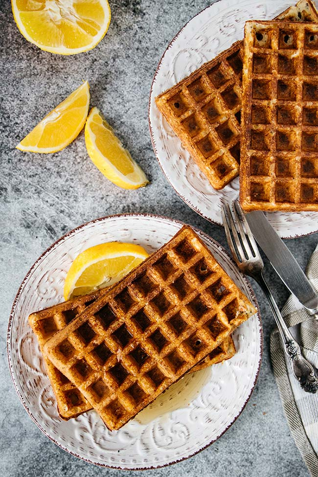 Orange poppy seed cottage cheese waffles