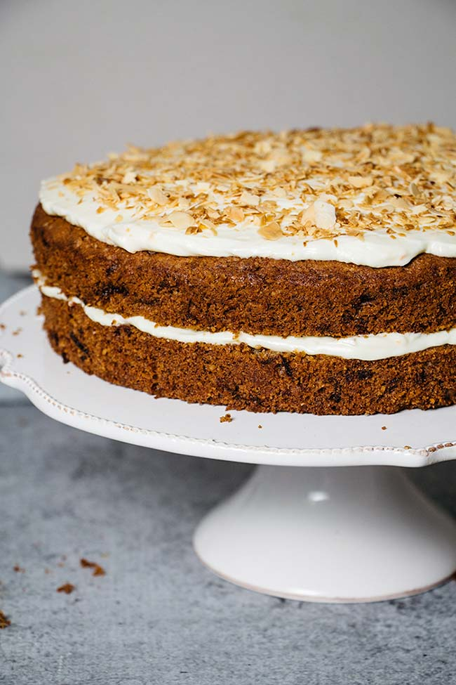 Carrot cake with cream cheese and mascarpone frosting