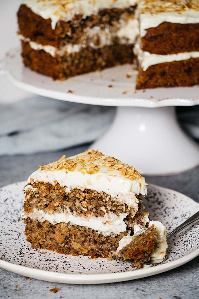 A slice of the best carrot cake ever