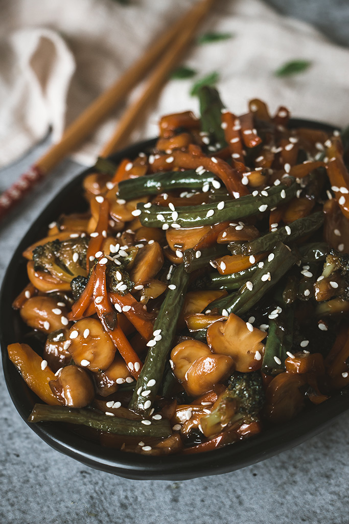 Asian vegetable stir fry served as a side dish