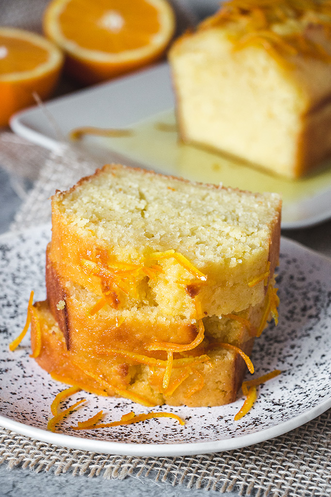 Slices of incredibly moist orange cake
