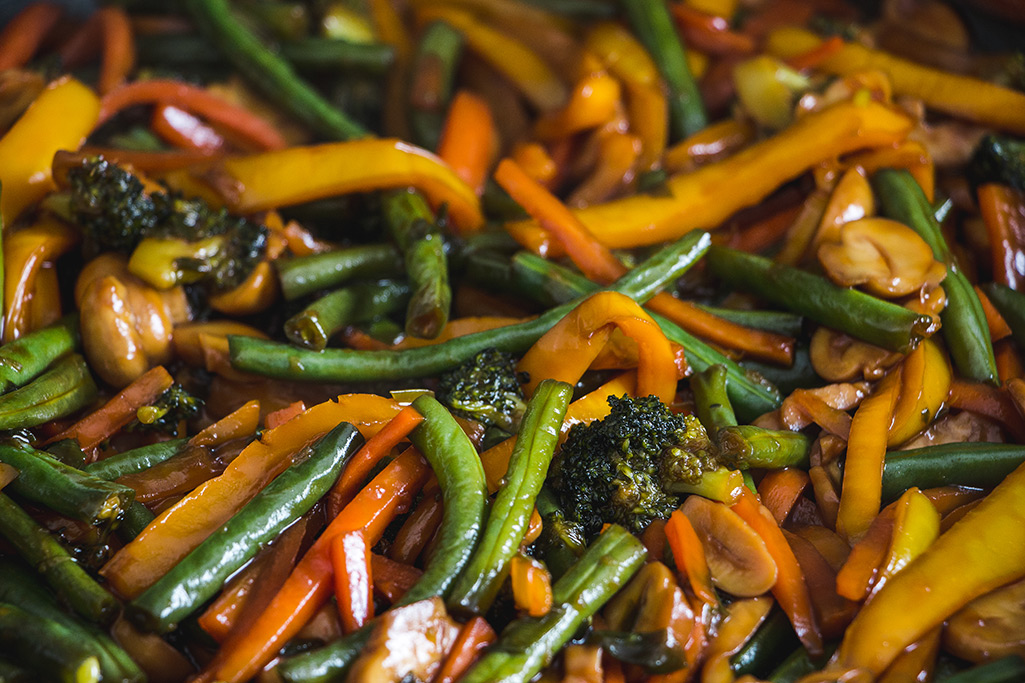 Soy sauce coated stir fried vegetables