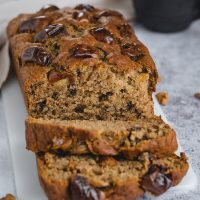 Sliced banana date loaf