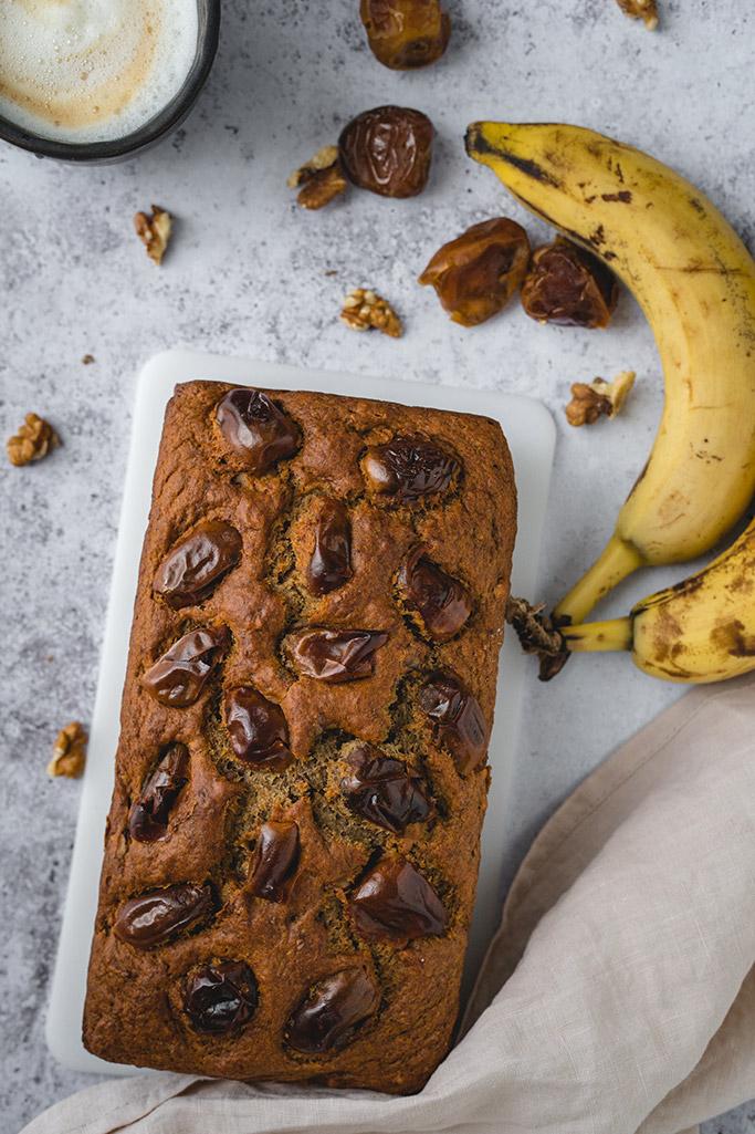 Sugar-free banana date bread overhead shot