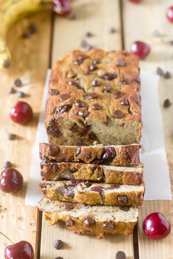 A loaf of cherry chocolate chip banana bread