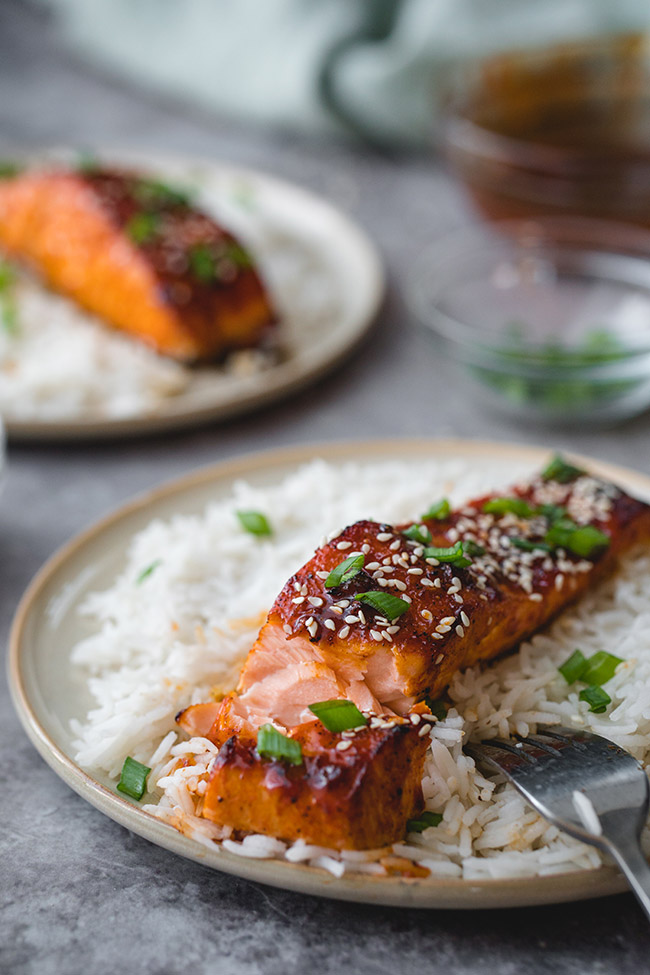 Korean salmon served on a bed of rice sprinkled with sesame seeds and green onions