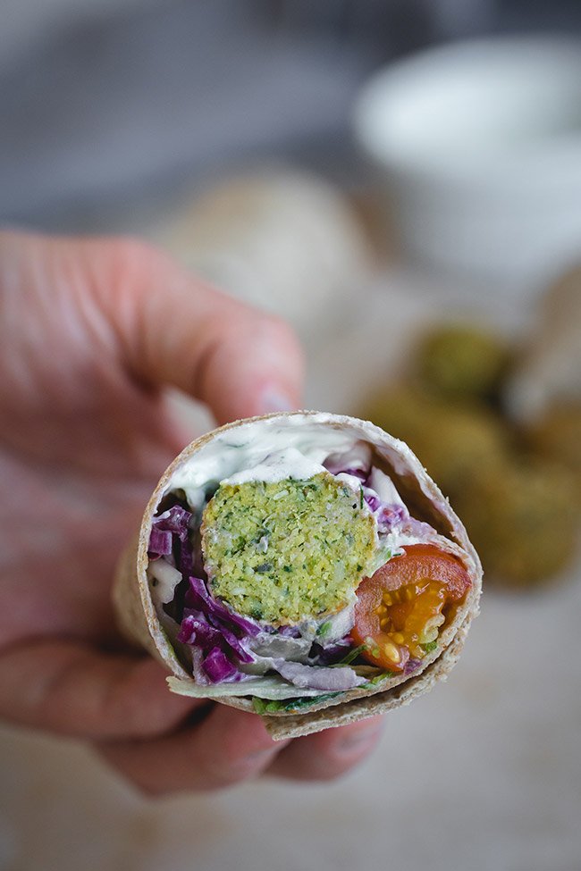 Falafel wrap cut in half