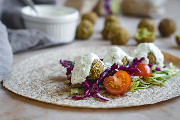 Making falafel wrap at home