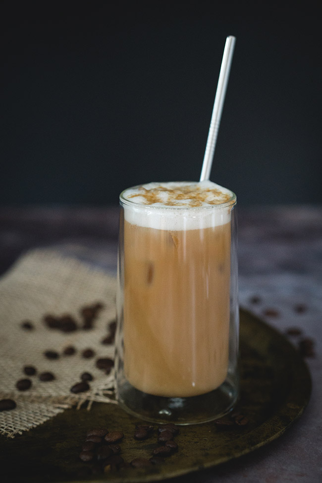 Healthy iced caramel latte in a glass