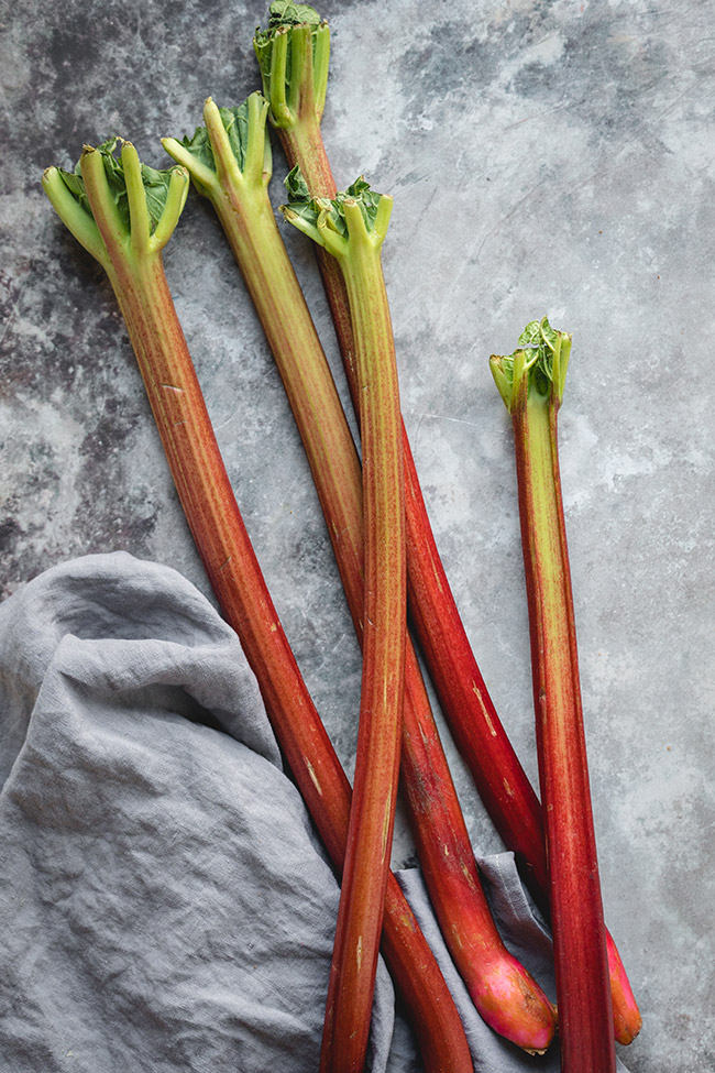 Rhubarb stalks placed on the table