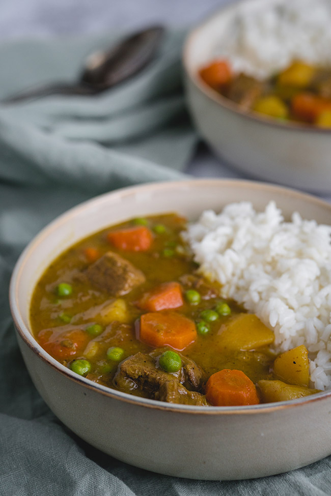 2 bowls of slow cooker Japanese beef curry