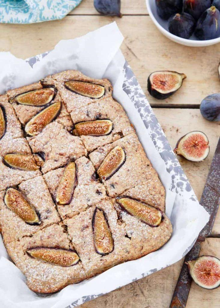 Ricotta almond fig cake overhead shot