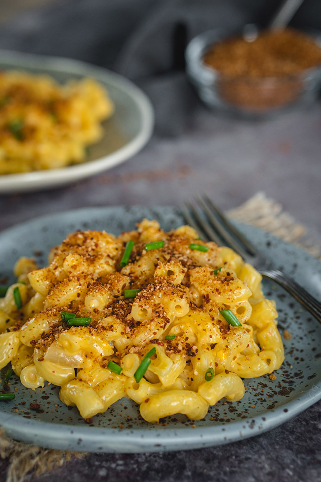 A plate of Korean mac and cheese