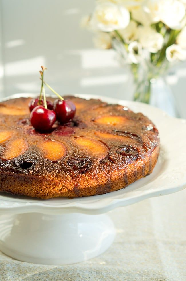 Peach Cherry Upside Down Cake