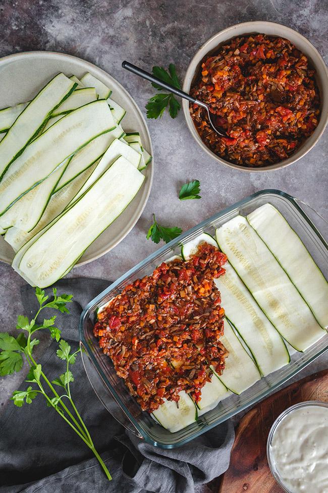 Assembling the zucchini and mushroom lasagna
