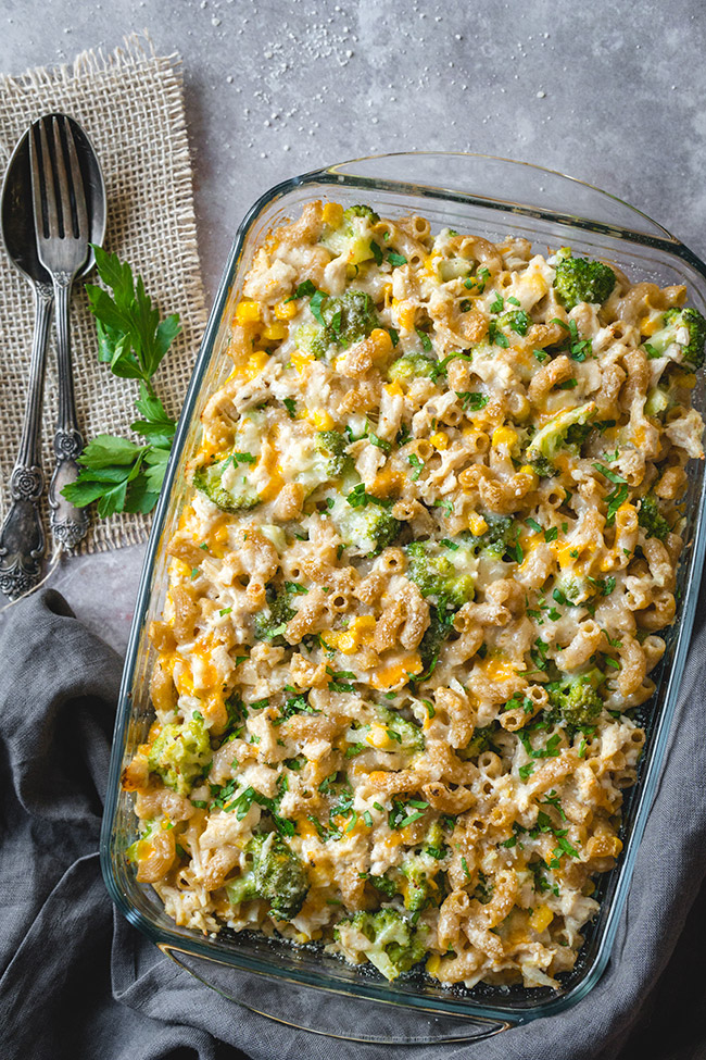 Dish of cheesy chicken noodle casserole