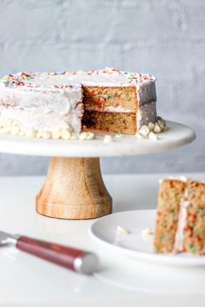 Gluten-free funfetti cake on a platter