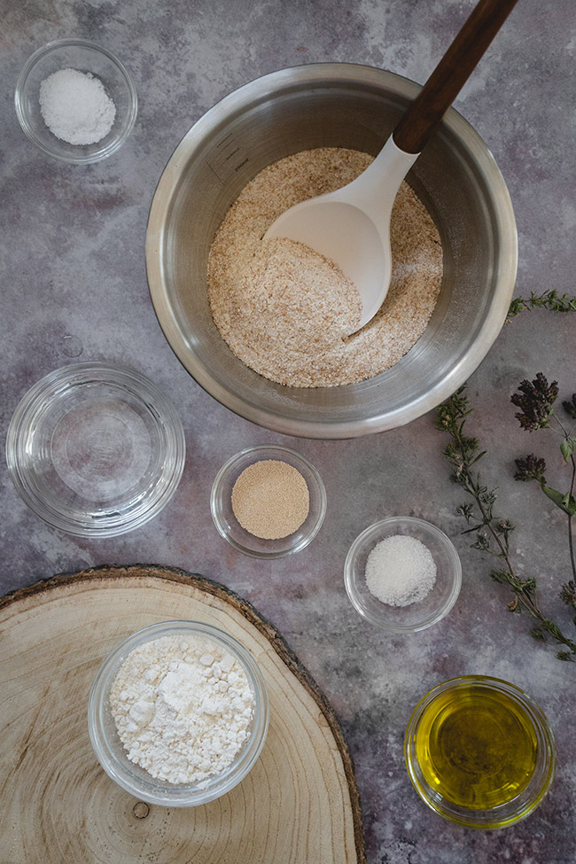 Ingredients for whole wheat pizza dough