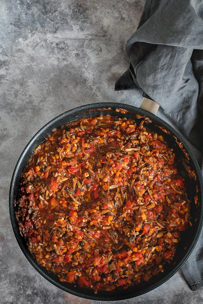 Vegetarian mushroom bolognese in a pan