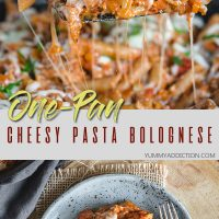 One-pan cheesy pasta bolognese pin