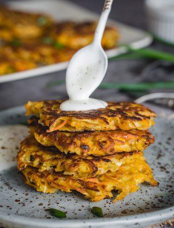 Pumpkin potato latkes with sour cream